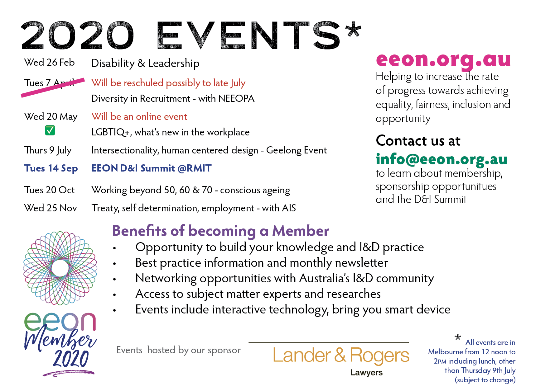 EEON 2020 Postcard of Events